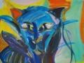 Katze / 1990 / 110x100 cm / Öl auf Leinwand